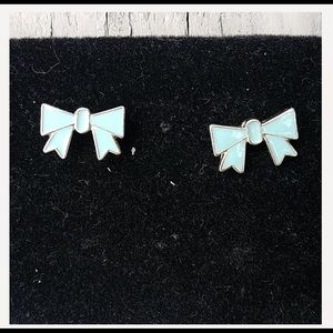 Tiffany Blue Enamel Bow Earrings